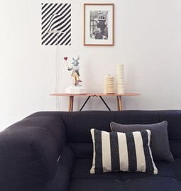 MIX&MATCH striped black linen cushion - Designerbox X CELC
