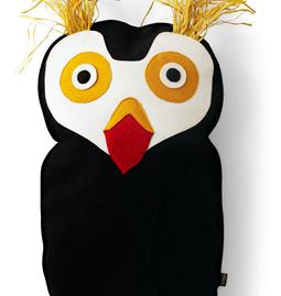Coussin Bird Puffin - noir