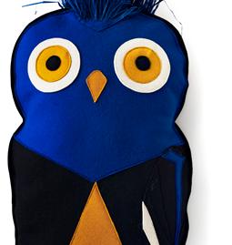 Coussin Bird Puffin - bleu