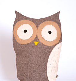 Owl bird cushion - grey