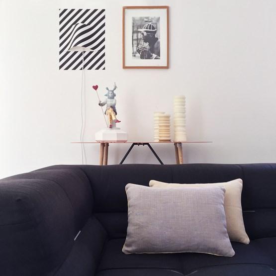 Coussin en lin à damier violet MIX&MATCH - Designerbox X CELC - Design : Serge Bensimon