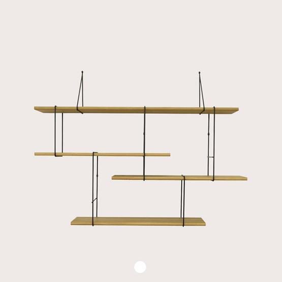 LINK wall shelf set of 1 – oak / black - Design : Studio Hausen