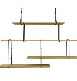 LINK wall shelf set of 2 – oak / black