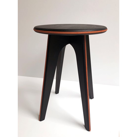 Nordic stool ASSY - black and leather - Design : mademoiselle jo