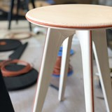 Nordic stool ASSY - white and leather  4
