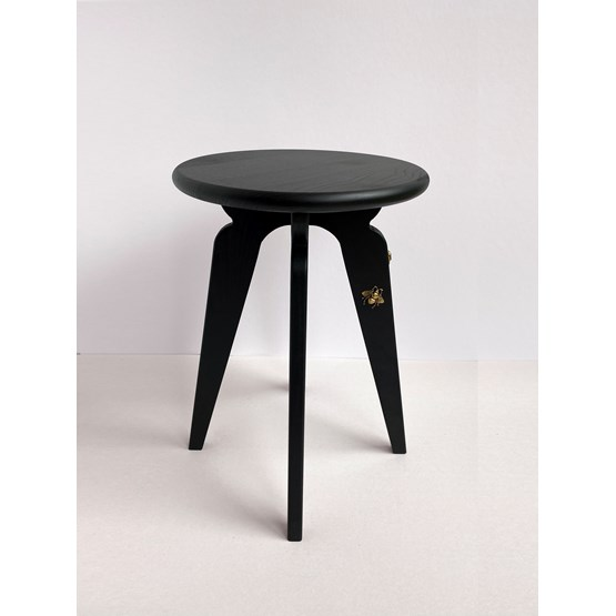 Nordic stool ASSY - black and insects - Design : mademoiselle jo
