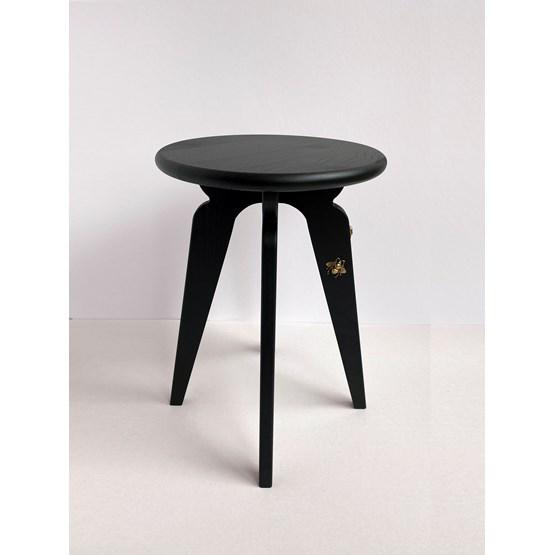 Tabouret nordique ASSY - noir et insectes - Design : mademoiselle jo