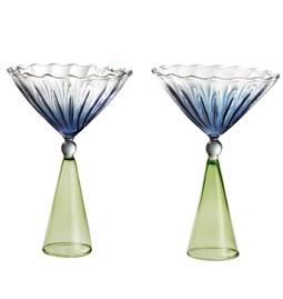 Set de verres à Martini CALYPSO - bleu et vert
