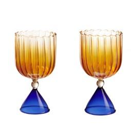CALYPSO set of stemmed glasses - amber and blue
