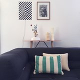 Striped green linen cushion MIX&MATCH - Designerbox X CELC 2