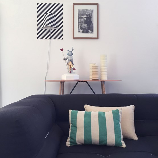 Striped green linen cushion MIX&MATCH - Designerbox X CELC - Design : Serge Bensimon