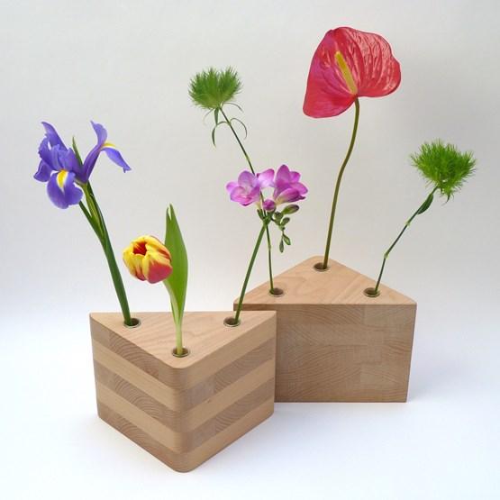 Duo de vases TRAMEZZINI - hêtre naturel - Design : Beatrix Li-Chin Loos
