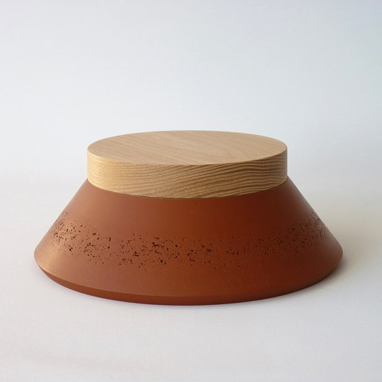 Box PAGODA - two-tone red ochre / oxide grey - Design : Beatrix Li-Chin Loos