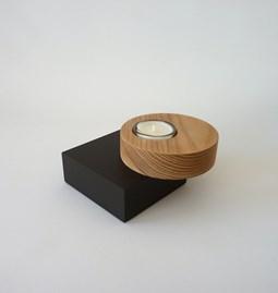Bougeoir BAUHAUS - orme / médium laqué noir