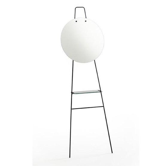 Miroir sur pied avec tablette LOOK - finition claire - Design : Glassvariations