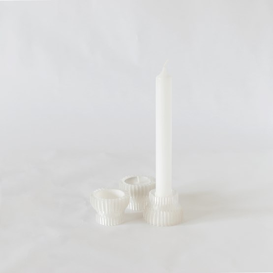 Double candle holders 2.20 - white - Design : Warren & Laetitia