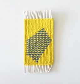 Micro handwoven wall rug - yellow and blue