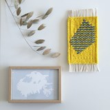 Micro handwoven wall rug - yellow and blue 3