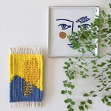 Micro handwoven wall rug - yellow, blue and sand 3