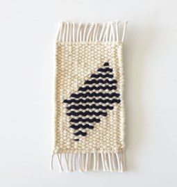 Micro handwoven wall rug - white and navy blue