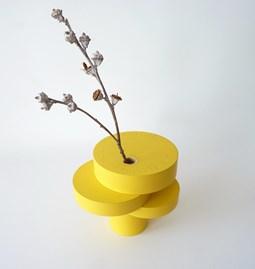 Sculpture-vase BONSAI EQUILIBRIUM - lacquered medium yellow