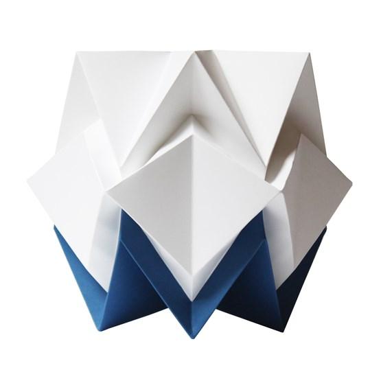 Small table lamp in paper HIKARI - blue and white - Design : TEDZUKURI ATELIER