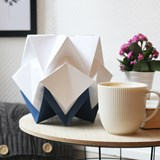 Small table lamp in paper HIKARI - blue and white 7