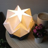 Small table lamp in paper HIKARI - blue and white 8