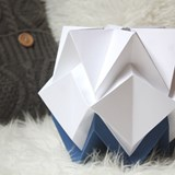 Small table lamp in paper HIKARI - blue and white 9