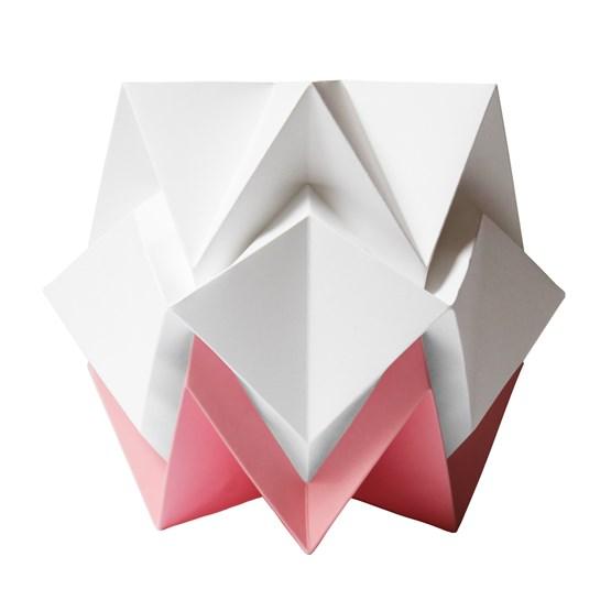 Lampe de table HIKARI en papier / taille S - blanc et rose - Design : TEDZUKURI ATELIER