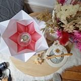 Lampe de table HIKARI en papier / taille S - blanc et rose 5