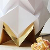 Lampe de table HIKARI en papier / taille S - blanc et or 6