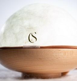 Silk table lamp Luna 70 - coppery white
