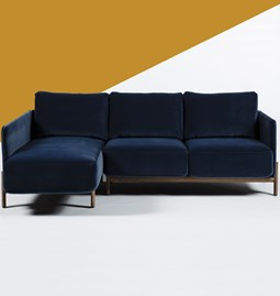 LACUS WOOD 3-seater meridian sofa - midnight blue