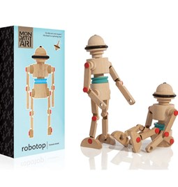 Wooden toy Robotop, the Spinning top Robot