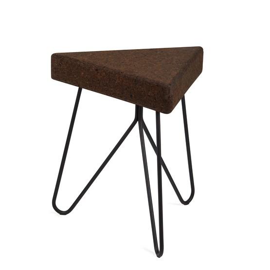 Tabouret/Table TRÊS -  liège foncé et piètement noir - Design : Galula Studio