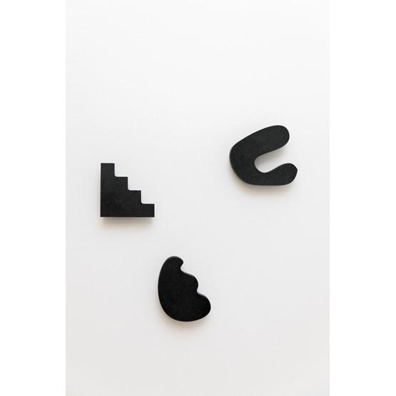 Set de 3 patères aux formes abstraites - valchromat noir - Design : Little Anana