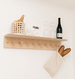 SUREAU wall shelf with hooks - large