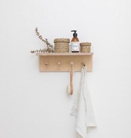 SUREAU wall shelf with hooks - small