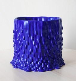Cache-pot souche basaltique L - bleu électrique