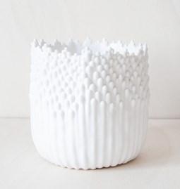 Cache-pot ascensionnel floral XL - blanc