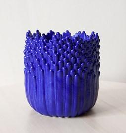 Cache-pot ascensionnel floral M - bleu électrique