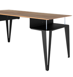 ATOME desk - black steel and oak