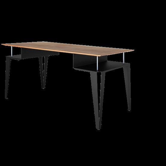 ATOME desk - black steel and oak  - Design : Blaq&Co