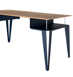 ATOME desk - blue steel and oak