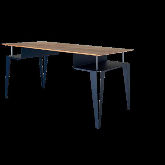Bureau ATOME - acier bleu et chêne - Design : Blaq&Co