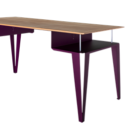 ATOME desk - purple steel and oak