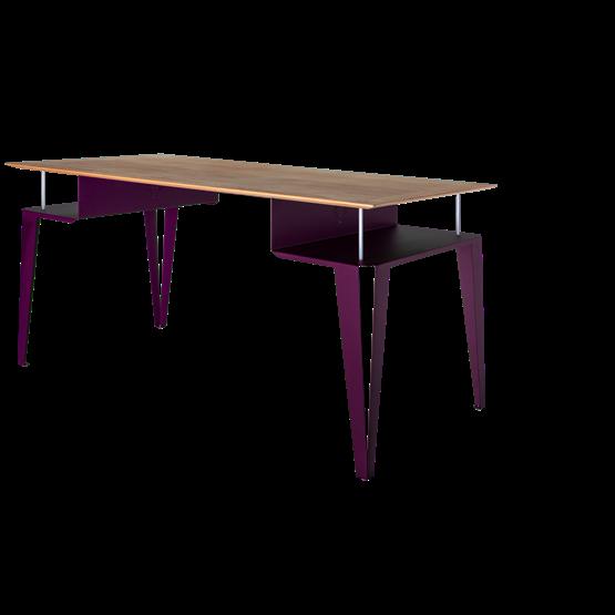 Bureau ATOME - acier pourpre et chêne - Design : Blaq&Co