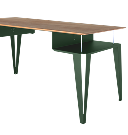 ATOME desk - green steel and oak