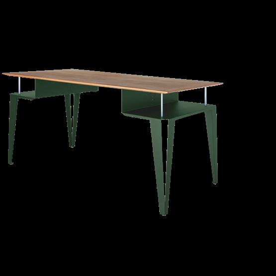 ATOME desk - green steel and oak  - Design : Blaq&Co